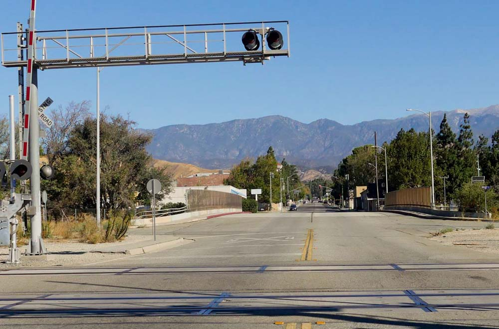 San Gorgonio Ave looking north from the RR Tracks